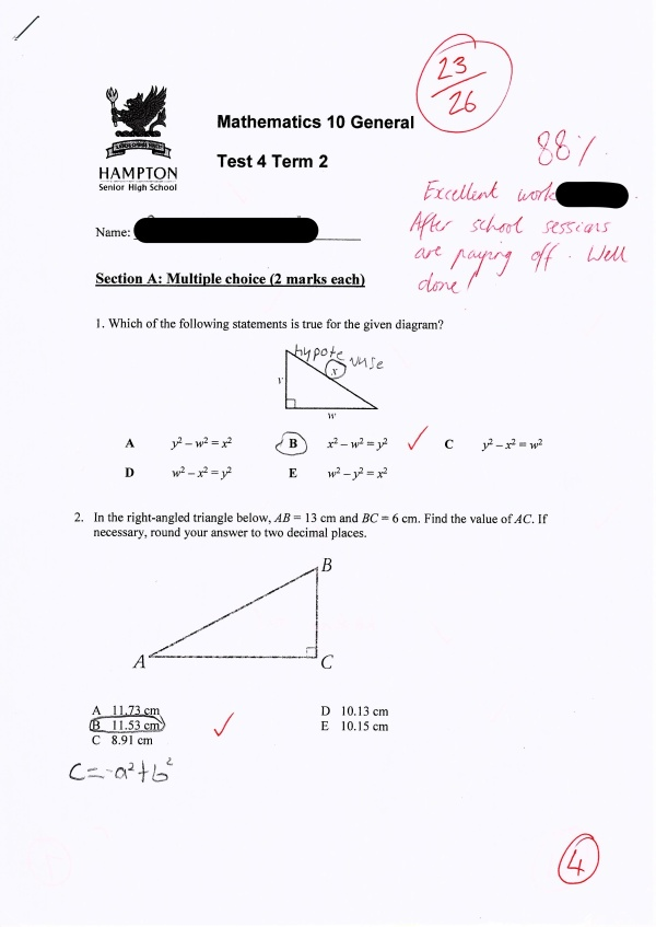 Student Maths Results 2
